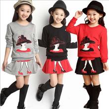 2Pcs/set New kids clothes girls clothing sets baby girl cartoon t-shirt skirt children girl dress clothes winter warm 8-16 years