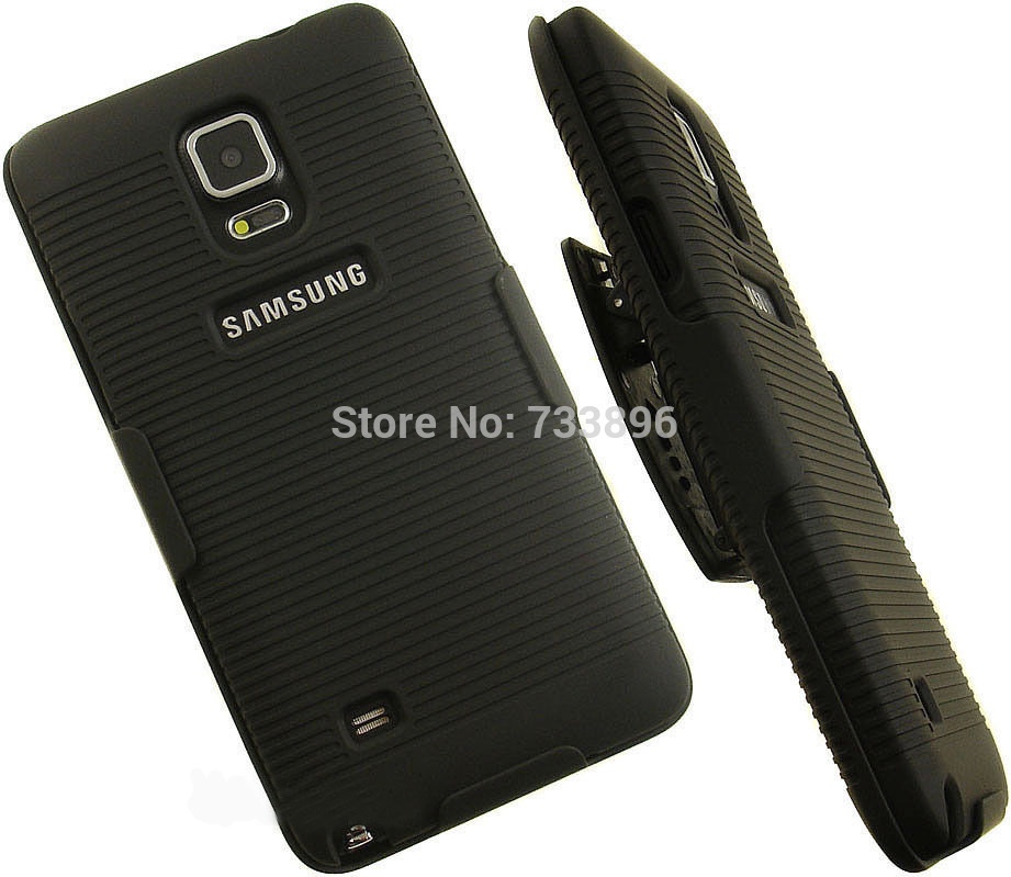 Black Slim Slide Hard Case W/Holster Belt Clip Stand For Samsung Galaxy Note 4 N910
