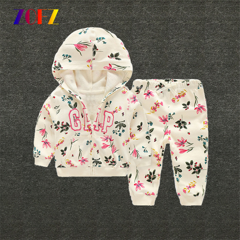 ZOFZ 2017 baby girl clothes 2pieces set 100% cotton sweatshirts white baby hoodies Spring outwear for 0-2 babies fashion clothes(China (Mainland))