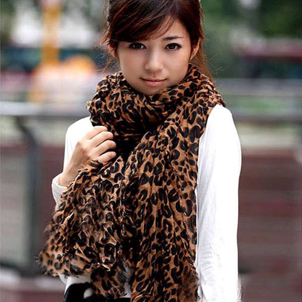 Ladies Long Large Scarves Georgette Gauz Wrap Scarf Shawl Sexy Leopard Fashion Free Shipping & Drop Shipping(China (Mainland))