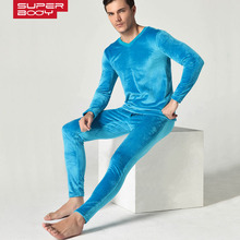 Men's Winter Thickening and wool warm suit underwear double side velvet underpants long Johns Men tight sets of winter legging(China (Mainland))