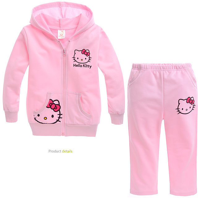 DISCOUNT baby girl autumn spring long sleeve pink sport suit girls hello kitty hoodie set clothing 5set/lot free shipping(China (Mainland))