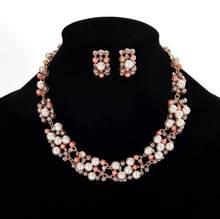 חדש תכשיטים להגדיר שרשרת עגילי הצהרת נשים חיקוי פרל תכשיטי סט תכשיטי חתונת נשים N383(China)