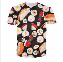 Crewneck T-Shirt Sushi Rad Sushi Rolls Vibrant T Shirt Women Sexy Funny Tees Men Sport Tops Fashion Clothing Chemise 3D