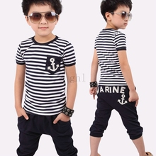 New fashion kids boy clothing set Summer Children Clothing Boys Navy Striped Short Sleeve T-shirt And Pants clothes Suits(China (Mainland))