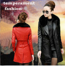 Women's leather trench coat winter warm long coat cultivate one's morality and cotton raccoon fur collar fur coat leather jacket(China (Mainland))