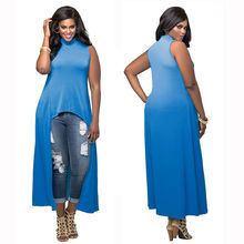 Buy M L XL XXL Women Summer sexy Loose irregular dress Beach Tunic Sleeveless Tank long casual robe femme Party Plus Size Vestidos for $11.59 in AliExpress store