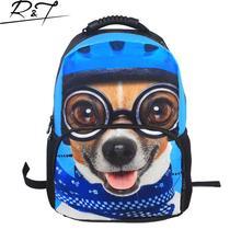 2016 3D Printing Cute Glasses Dog Backpacks Animal Printing Bags Fashion Tourism Backpacks Casual School Bags For Teenager(China (Mainland))