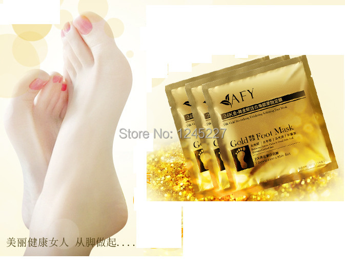 feet care foot golden exfoliating mask Vinegar foot peeling baby socks for pedicure cuticle remover hot selling health unisex(China (Mainland))