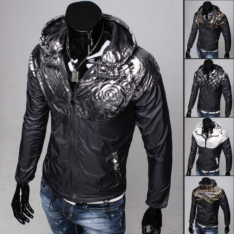 Black autumn Korean men clothes casual youth fashion Printing Bronzing Hooded thin mens jackets and coats M L XL 2XLОдежда и ак�е��уары<br><br><br>Aliexpress