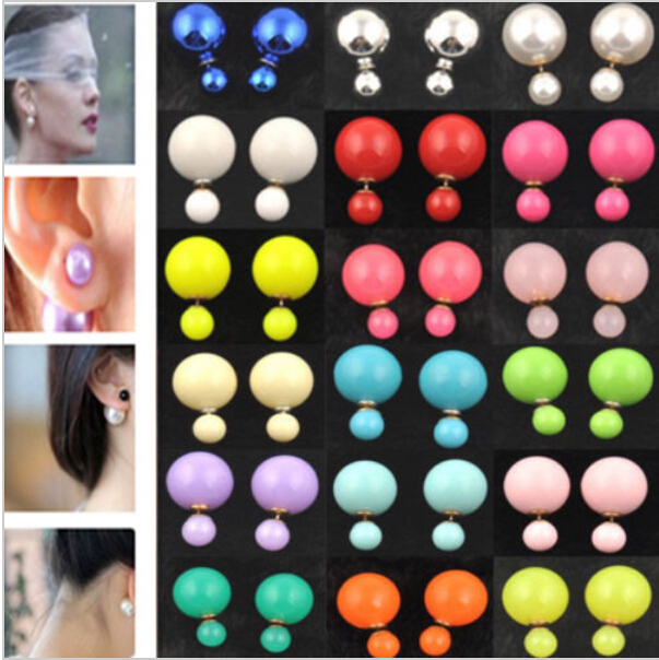 Fashion Jewelry Earrings Hot Selling Round Double Pearl Stud Earrings Big Pearl earrings for Women(China (Mainland))
