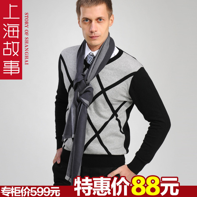 2013 spring male pure wool thermal lengthen scarf