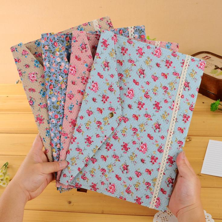 2014 New Floral lovely Polka Dot Floral A4 pouch bag case paper cute Korean Office School Filing Products Document(China (Mainland))