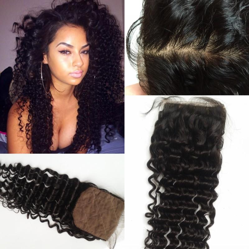 8A Chinese Virgin Hair Silk Base Closure Deep Curly,4x4 Human Hair Closure Hidden Bleached Knots Chinese Deep Wave Closure(China (Mainland))