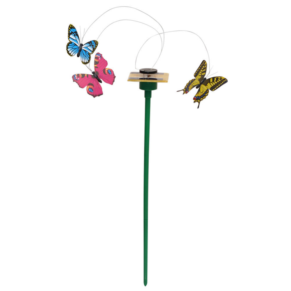 Hot Solar Powered Dancing Flying Butterfly Garden Decoration Color At Random HG00095 S02(China (Mainland))