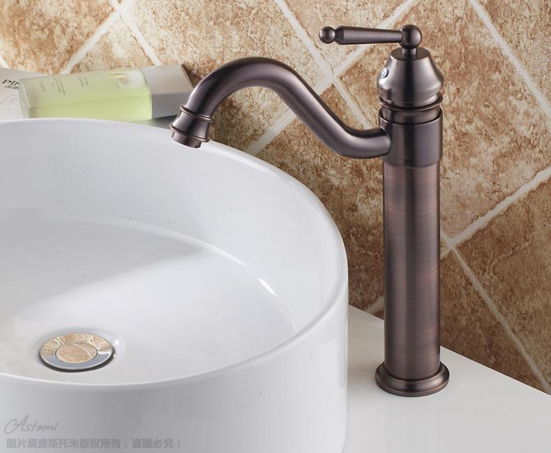 Creative Spout Oil Rubbed Bathroom Mixer Tap Single Handle Copper Basin Faucet