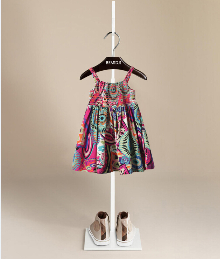 Little baby girl's dress colorful printing bohemian style dress 2015 summer child girls straps dresses popular kids clothing(China (Mainland))