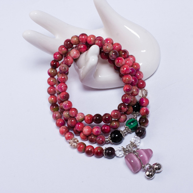 South Korean multi Beaded Natural Crystal Bracelet new fashion stone hand gourd string Vanves bell Bracelet wholesale(China (Mainland))