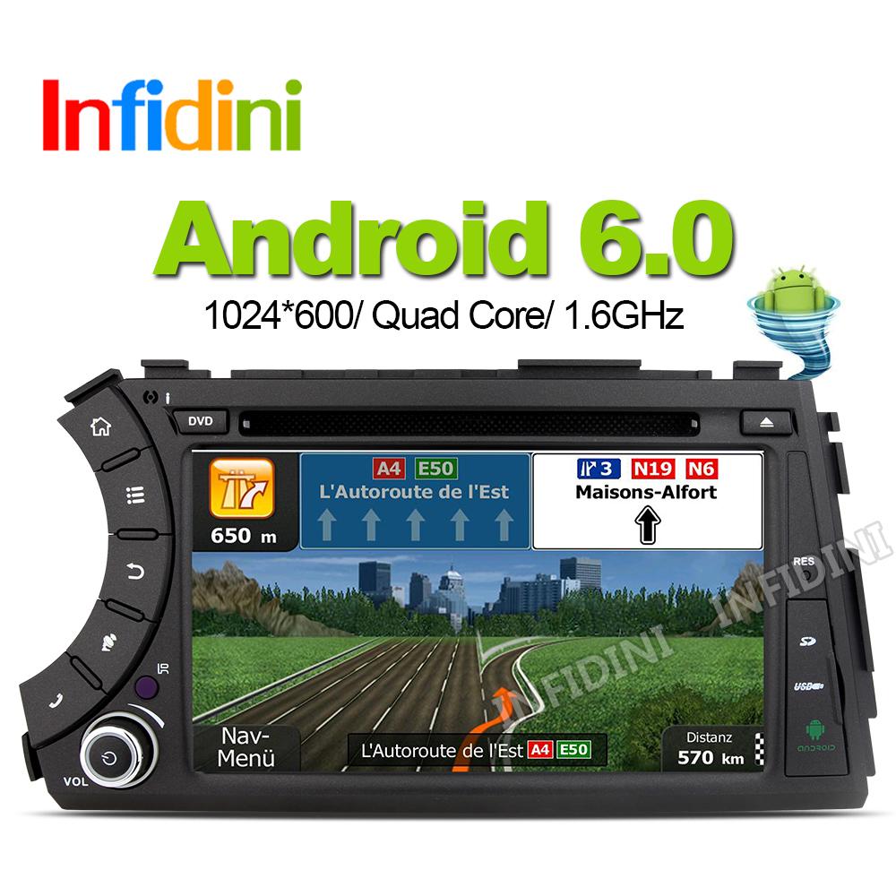 1024X600 Android 6.0 Car DVD For Ssang Yong SsangYong Kyron Actyon Sports Korando 2005-2013 GPS Radio Stereo gps navigation car(China (Mainland))