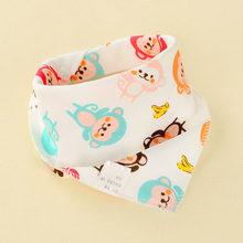 Baberos de bebé Oklady triángulo doble Baberos de algodón estampado de dibujos animados Saliva toalla bebé niños niñas alimentación delantal baberos Bandana de algodón(China)