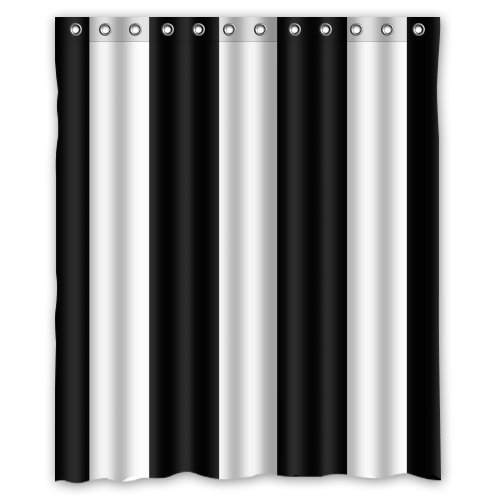 Custom Striped Black White Shower Curtain 60 X 72 Bathroom Decor Fabric In Shower Curtains