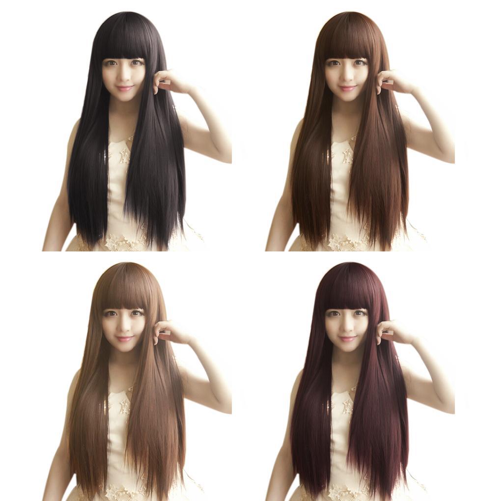 [해외]새 스타일 패션 긴 스트레이트 여성은 전체 머리 가발 코스프..