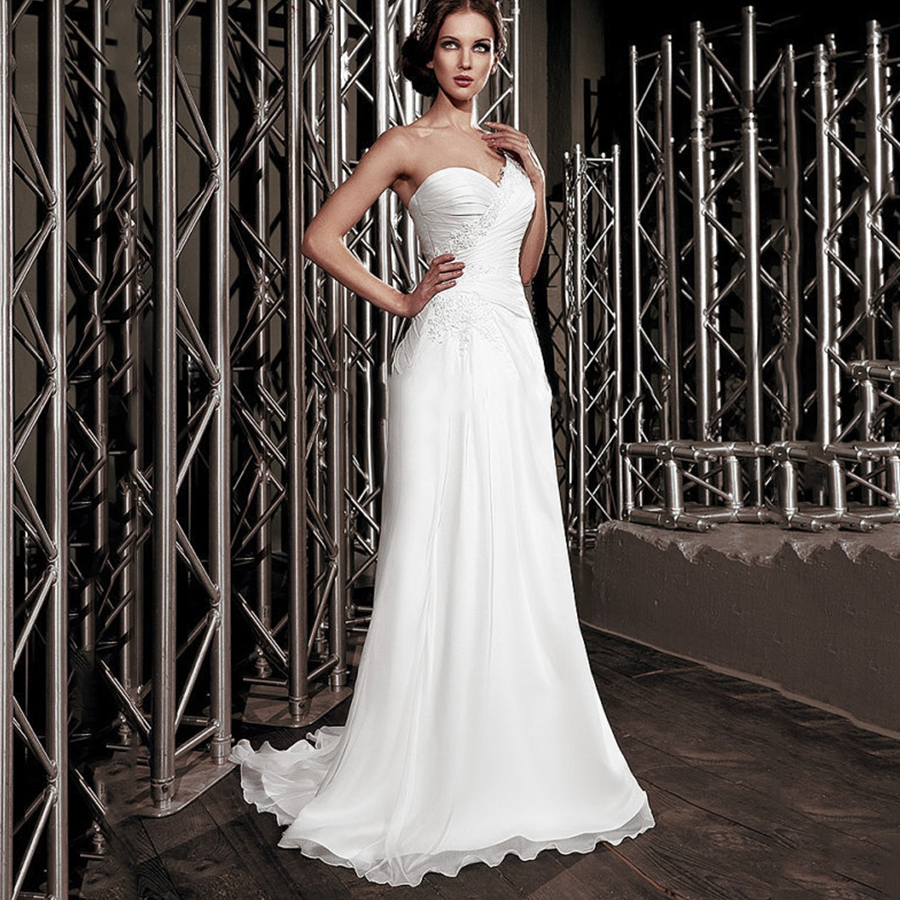 New summer sweetheart lace with beading chiffon bridal for Plus size one shoulder wedding dress
