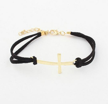 Charm Simple Double Layer Leather Bracelet Women Cross Bracelets Cheap Jewelry Best Friends Gift 5B077(China (Mainland))