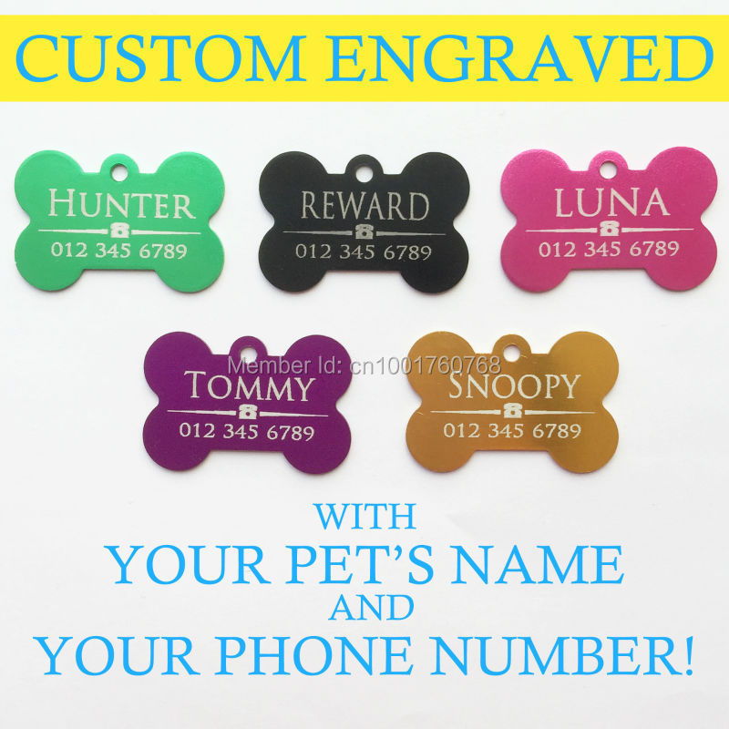 Free Shipping 5 Colors Bone Shaped Pet ID Tag Free Custom Engraving Name Plate Dog Collar Leash Dog Tag Aluminum Alloy Cat Tag(China (Mainland))