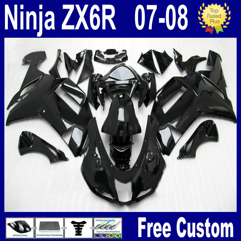 7gifts custom free fairing kit for kawasaki ninja ZX6R 2007 ZX 6R 636 2008 ZX-6R 07 08 gloss black aftermarket bodywork fairings(China (Mainland))