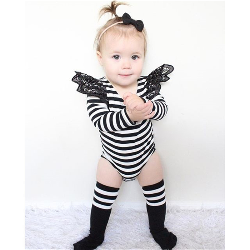 Pomotion Now! Baby Girls Lace Full Sleeve Romper White&Black barboteuse infantil Cotton Jumpsuit Summer Romper Kid Girls(China (Mainland))