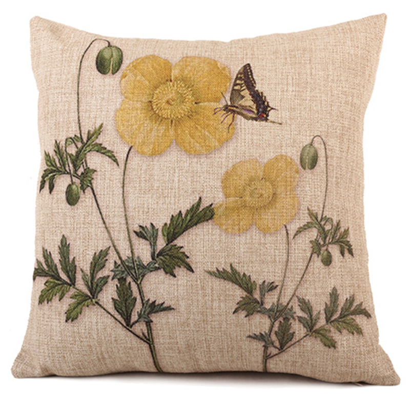 Green Plant Home Decor Yellow Flower Butterfly Linen Cotton Cushion Covers For Sofa Car Bed Seat Pillow Case 45*45cm(China (Mainland))