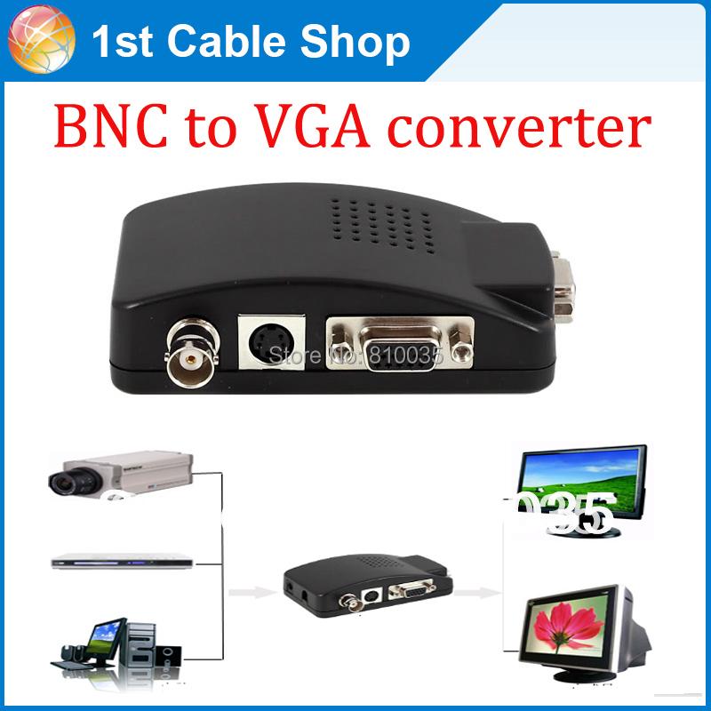 Free shipping&wholesale 1PCS/lot S-video VGA BNC to VGA converter adapter box supports BNC,S-video&VGA input with power supply(China (Mainland))