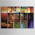 Abstract Canvas Oil Paintings Set of 5 Modern Canvas Art Reds Block Hand painted Canvas