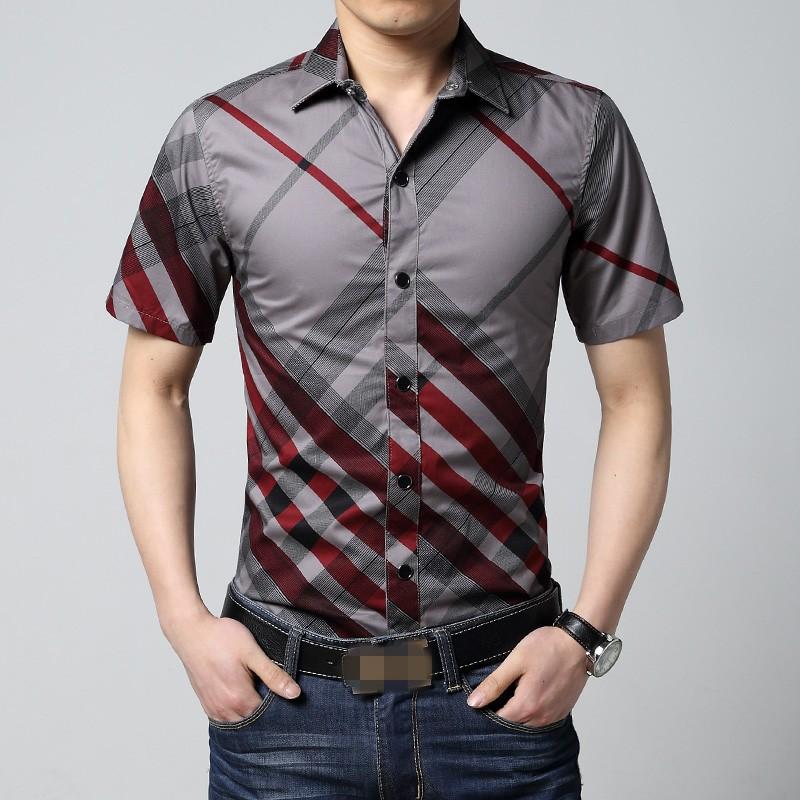 6xl red and black plaid shirt men summer mens short sleeve for Mens black plaid dress shirt