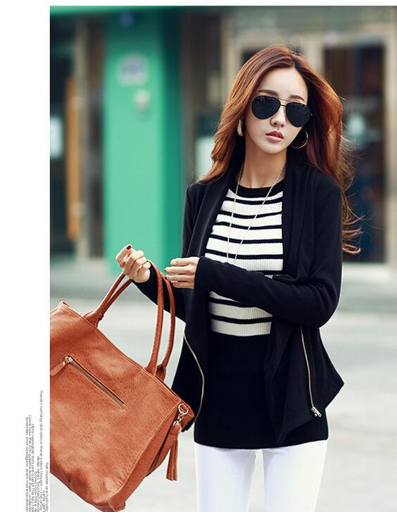 Новая куртка женщин 2016 весенние одежды женщины с длинным рукавом чистый цвет тонкий мода свободного покроя молнии куртки S20115