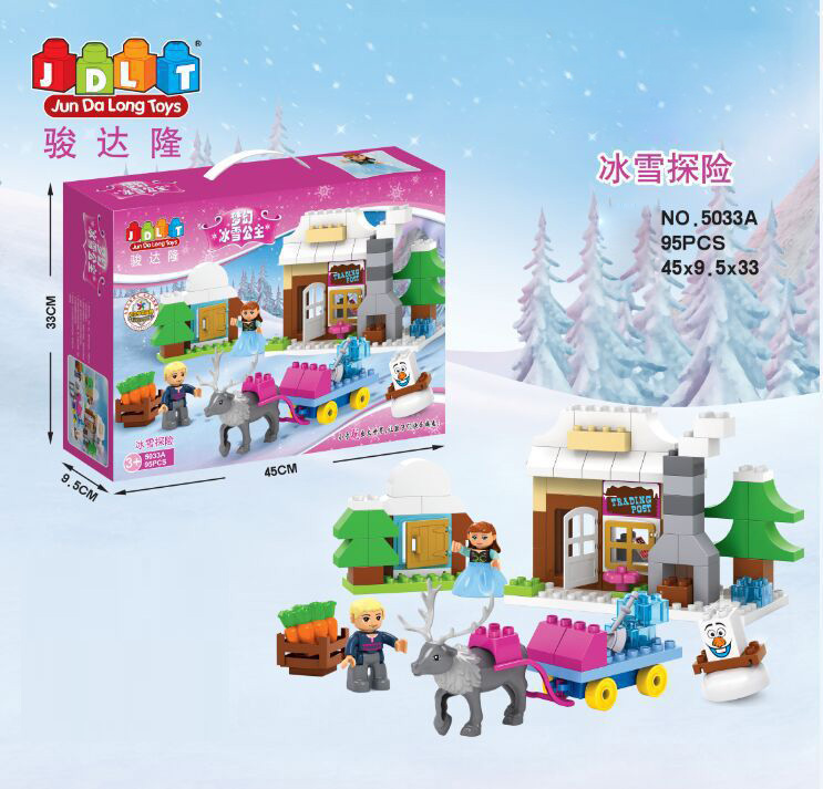Baby educational toys snow queen Anna princess Sled Adventure building block olaf doll mini figures compatible Duplo for girls(China (Mainland))