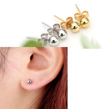 Unisex Womens Mens 18K Yellow Gold&Silver Platinum Plated Mini Round Bead Ball Stud Earrings Jewelry Wholesale New Arrival(China (Mainland))