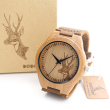 Engraved Elk Head Natural Bamboo Wooden Wristwatch With Genuine Cowhide Leather Band Wood Watches for Men and Women