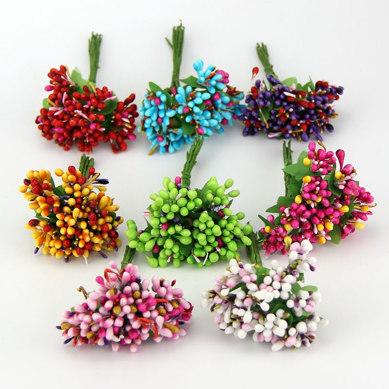 Cheap 10pcs Fake Flowers Plastic Artificial Bacca Stamen Flowers Bouquet For Wedding Decoration Scrapbooking Decorative Garland(China (Mainland))