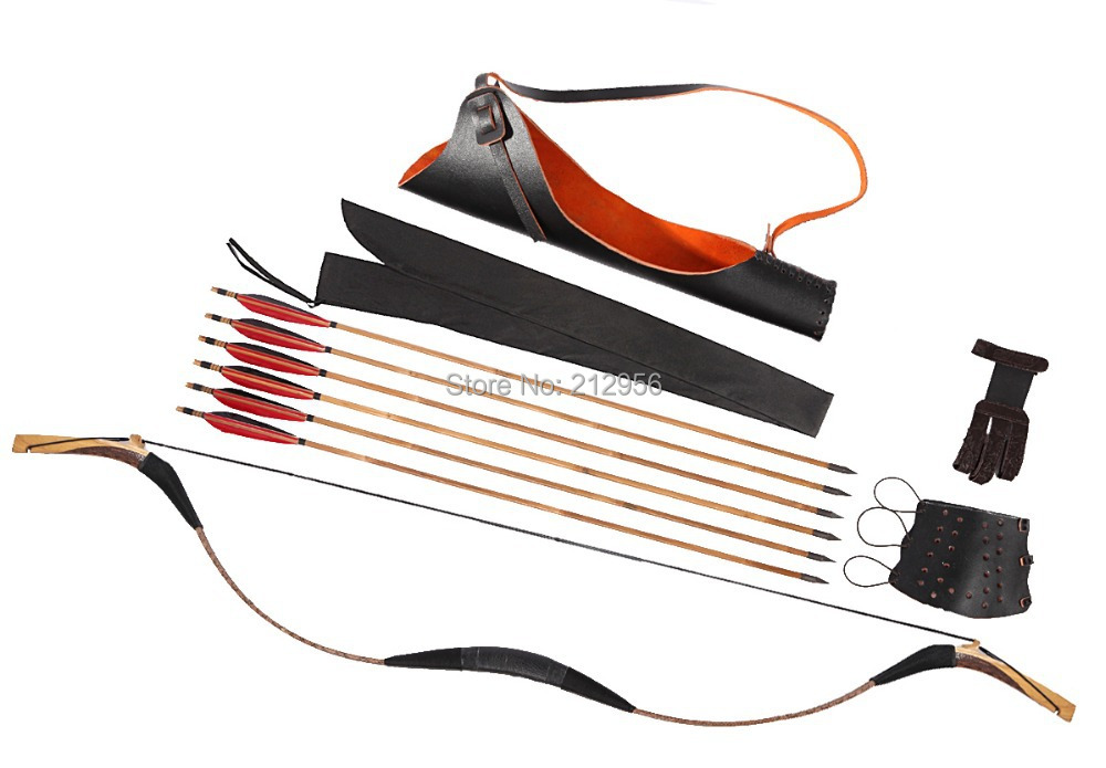 Longbowmaker Combination Set Traditional Mongolia Archery Gray Snakeskin Longbow Recurve Bow 6 Bamboo Arrows 20 60LBS