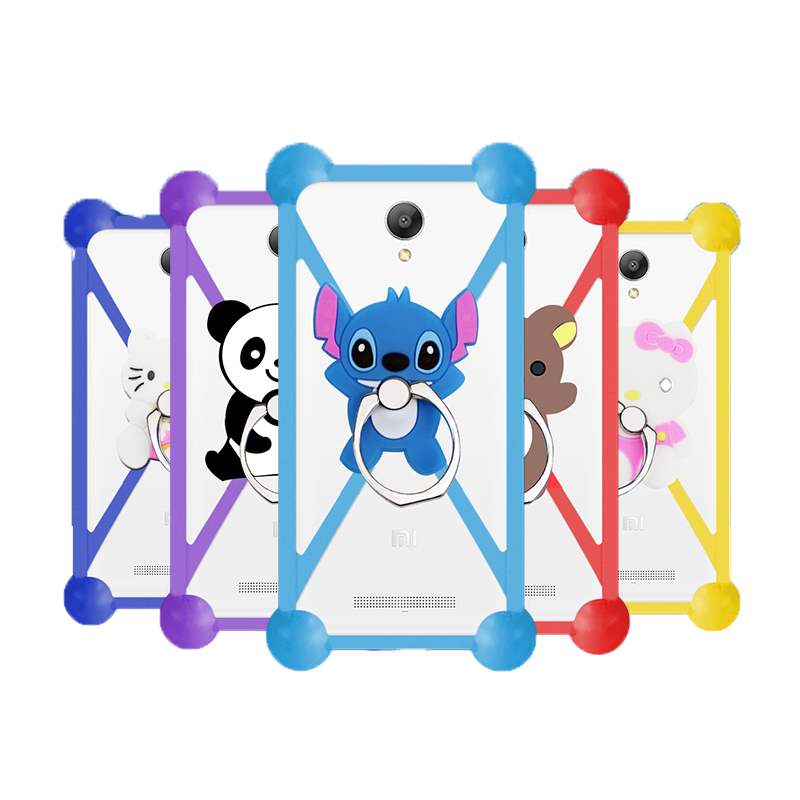 New Cartoon Ring Stand Holder Soft Silicone Case For Alcatel OneTouch Conquest Cell Phone 3.5 - 5.5 Inch Bumper Frame Cover(China (Mainland))