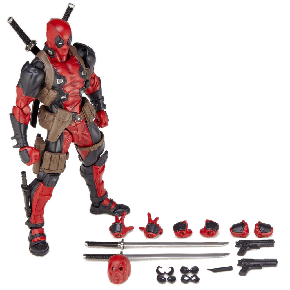 FIGMA X-MAN Series Spiderman Figure NO.001 Revoltech Deadpool With Bracket NO.002 Revoltech Spider Man Action Figures (8)