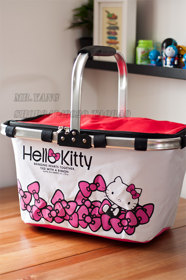 2015 Hot Sale Large Volume Folding Thermal Cooler Bag Ice Pack Fresh Keeping Picnic Storage Basket Bags Lovely Hello Kitty(China (Mainland))