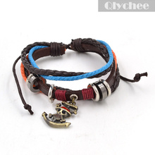Fashion Jewelry Cosplay Accessories Anime One Piece Luffy Straw Hat Skull Logo Knit Leather Bracelet Cosplay Bangle(China (Mainland))