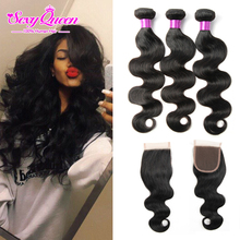 8A Grade Unprocessed Brazilian Virgin Hair Body Wave With Closure Ms Lula Hair With Closure And Bundles Human Hair With Closure