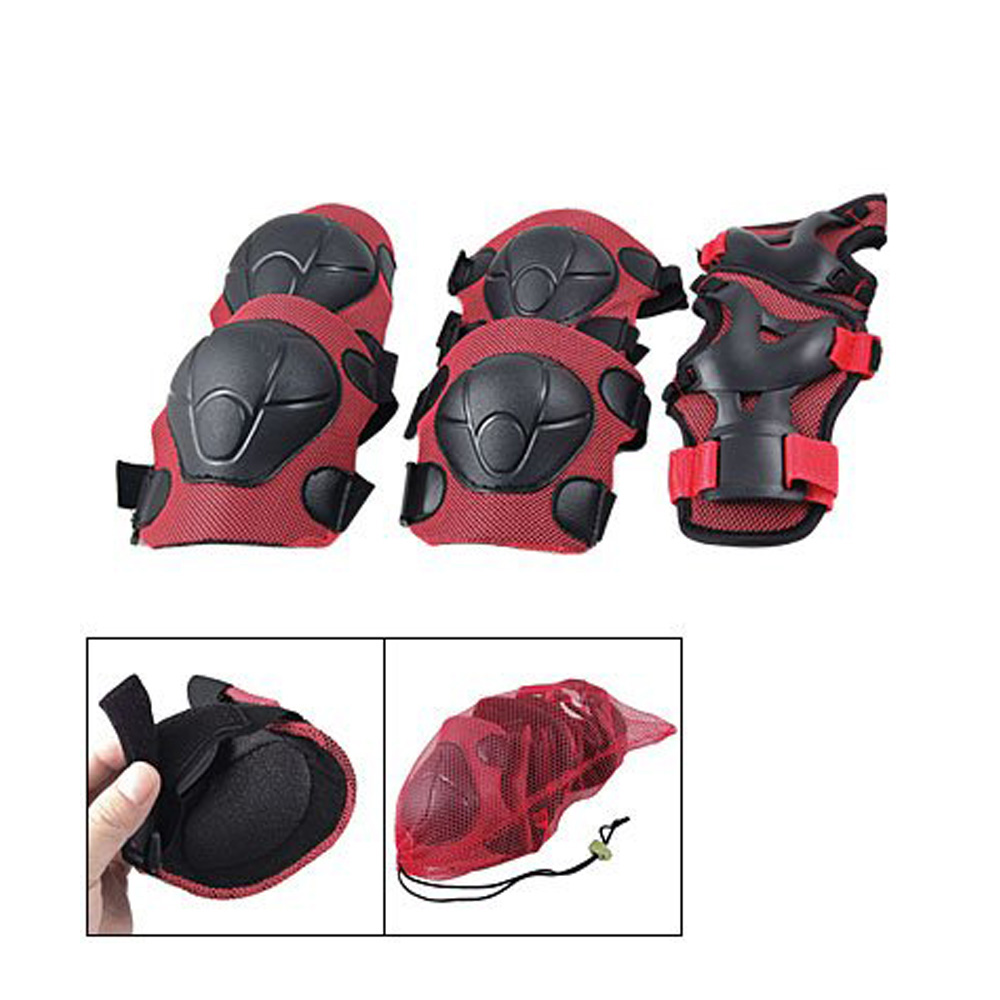 Child Skating Cycling Elbow Knee Wrist Support Pad Red Black,Free Shipping(China (Mainland))