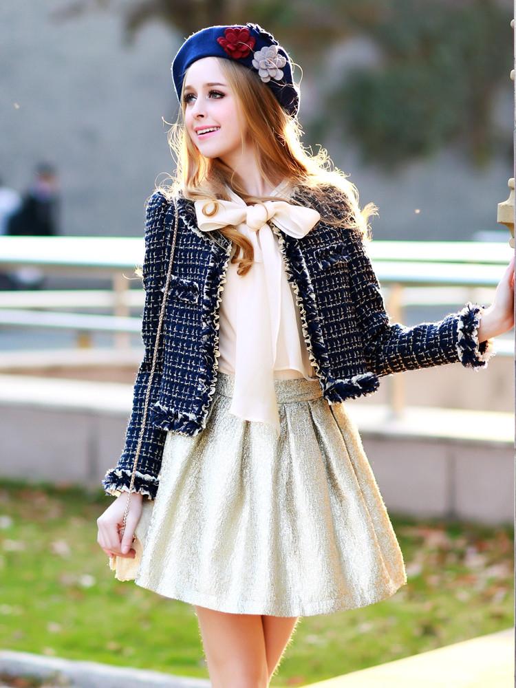 dabuwawa new fashion 2016 brand slim elegant plaid woolen tweed short jacket outerwear women autumn and winter wholesal