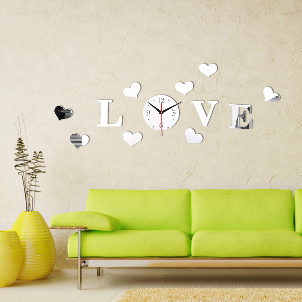 New Creative Romantic Silver Color Acrylic Mirror Effect LOVE Decal Wall Sticker Clock Mechanism Decoration Free Shipping(China (Mainland))