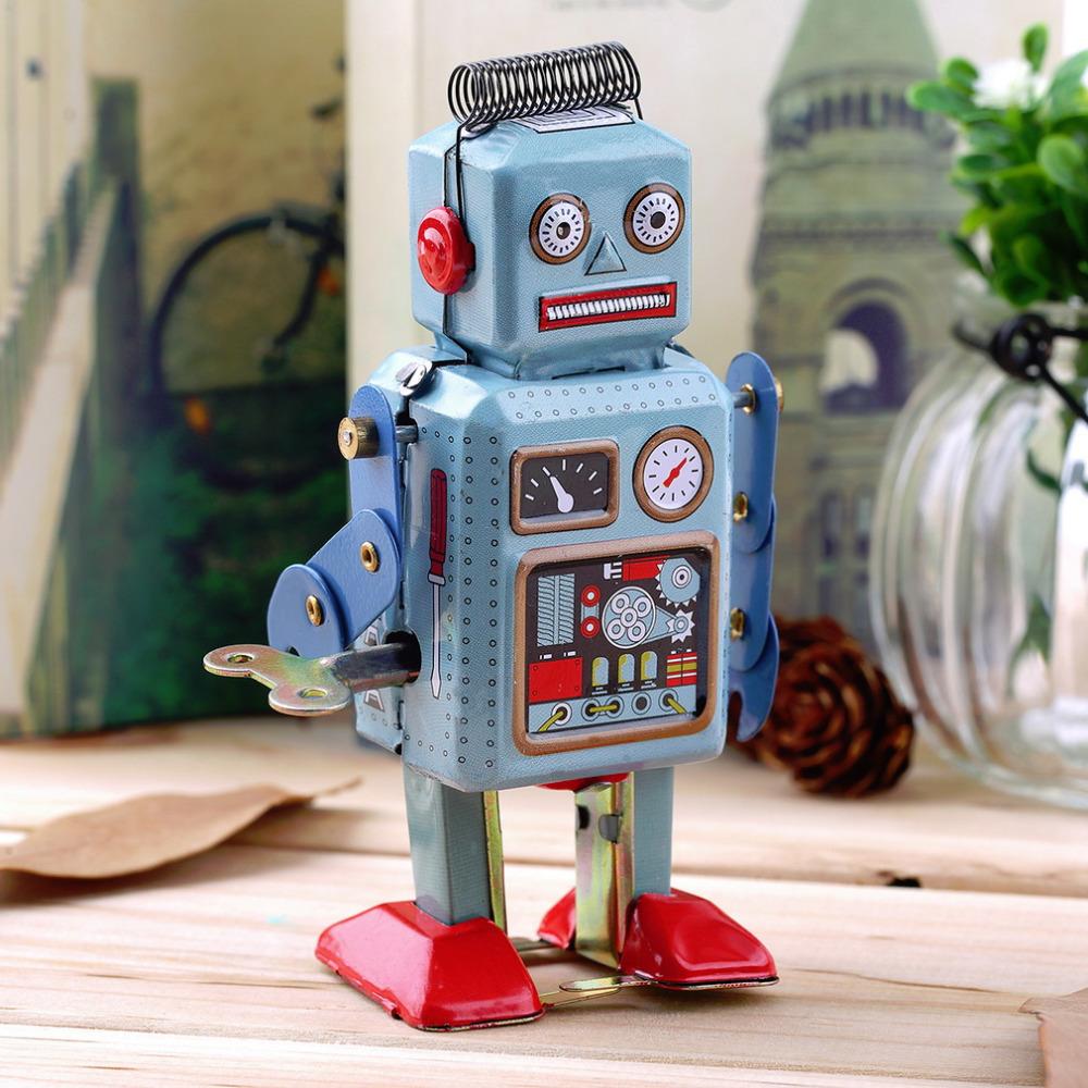 1pc Vintage Mechanical Clockwork Wind Up Metal Walking Robot Tin Toy Kids Gift Worldwide New Hot!(China (Mainland))